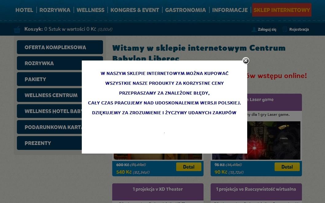 Komunikat dla użytkowników polskich na stronie http://www.centrumbabylon.cz/witamy-na-stronach-centru-babylon-liberec.html