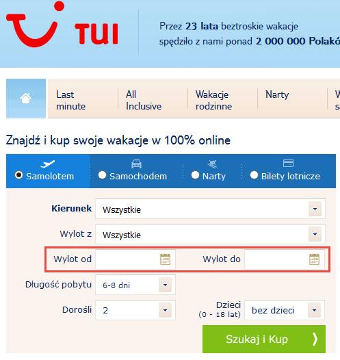TUI - etykieta terminu wakacji