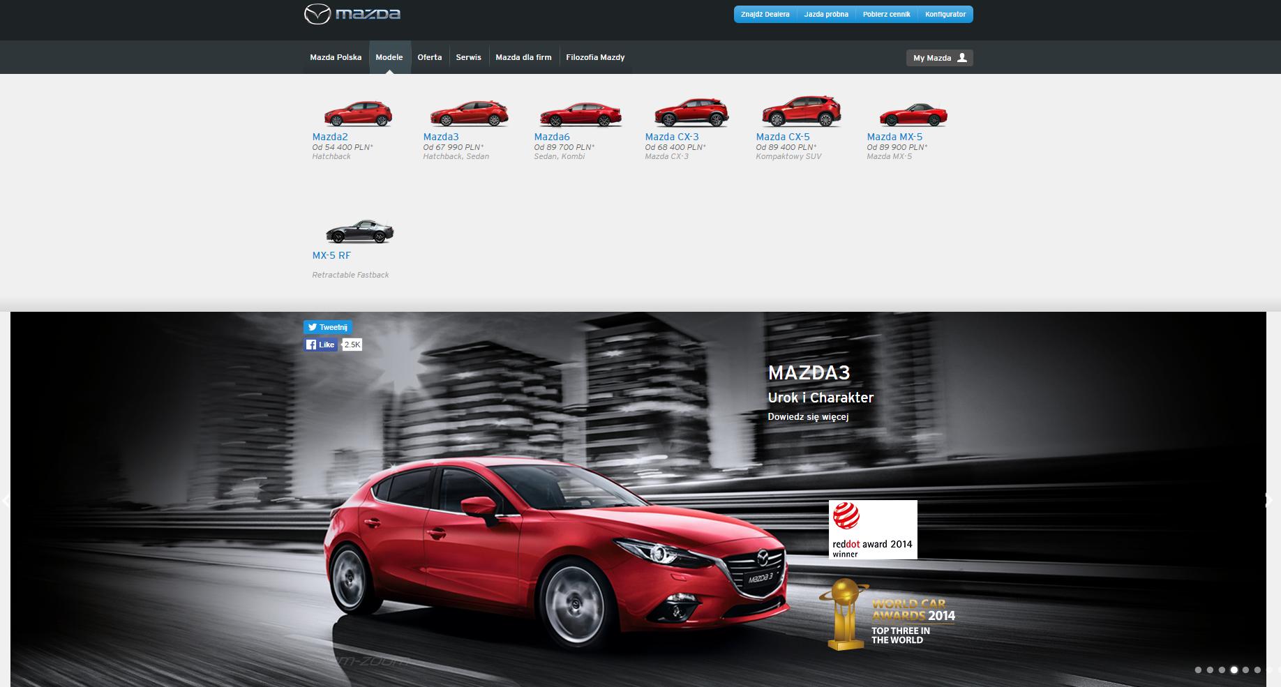 Oficjalna strona Mazda Polska